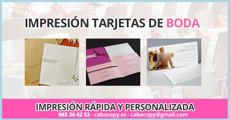 Impresión tarjetones de boda Alicante Playa de San Juan