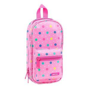 Plumier mochila Safta con 4 Estuches Dots Pink Oficial