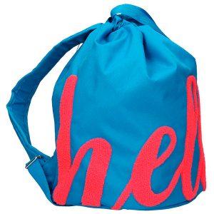 TopModel – Bolsa saco azul con diseño Hello