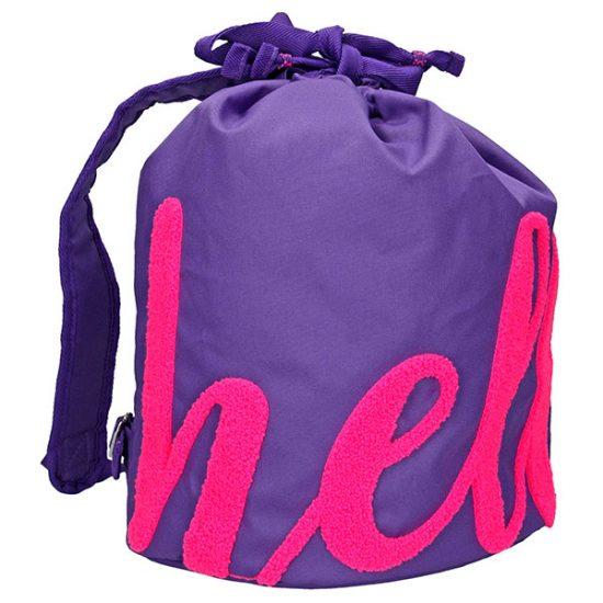 TopModel – Bolsa saco púrpura con diseño Hello