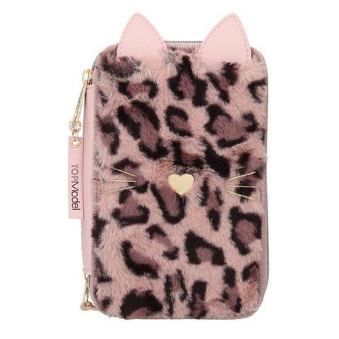 Estuche triple lleno con piel de leopardo en tono rosa - TOP MODEL