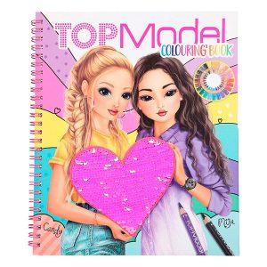 Libro para colorear para niña con corazón de lentejuelas Diseño: TOPModel. Con muchas pegatinas y plantillas. Dimensiones: aprox. 21 x 24 x 1,5 cm.