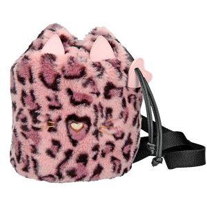 Mochila con cordón Leo de Piel sintética simula manchas leopardo en tono rosado - TOP MODEL