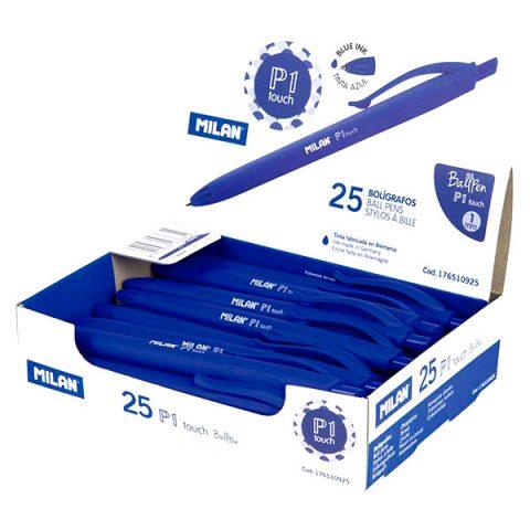 Bolígrafos MILAN de punta redonda, 25 unidades Color Azul