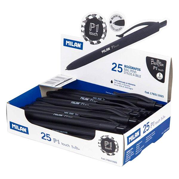 Bolígrafos MILAN de punta redonda, 25 unidades Color Negro