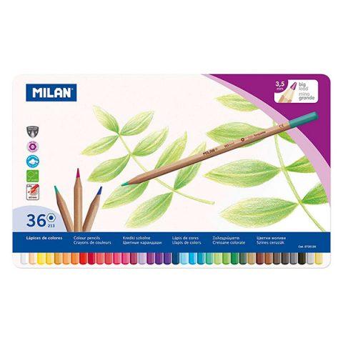 Caja metálica 36 lápices de colores con mina grande 3,5 mm 213, multicolor MILAN