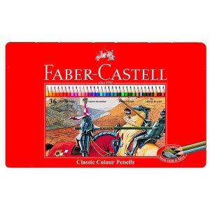 Faber Castell - Estuche de metal con 36 ecolápices hexagonales de colores, lápices escolares, multicolor