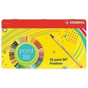 Rotulador puntafina STABILO point 88 - Caja de metal con 50 unidades