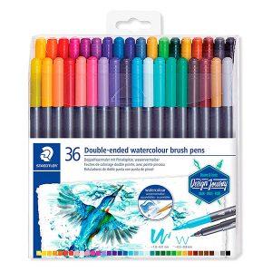 STAEDTLER Watercolour Brush Pens - Rotulador de Doble Punta de Fibra Acuarelable, Multicolor, 36 Unidades