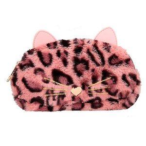 Neceser de piel sintética leopardo rosa